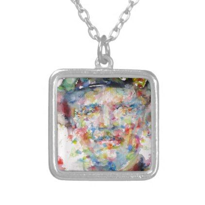 bernard montgomery - watercolor portrait silver plated necklace - jewelry jewellery unique special diy gift present