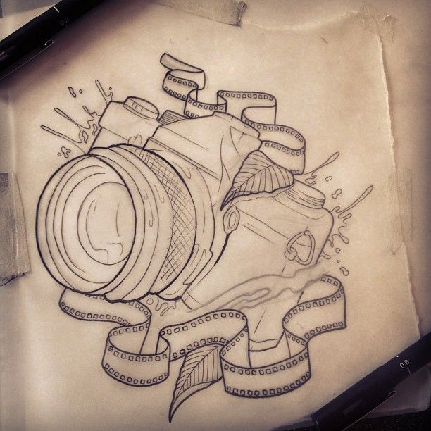 Outline Camera Tattoo Design - Tattoo Ideas