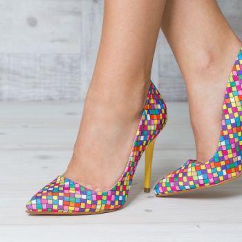 Pantofi stiletto multicolori cu toc galben. Exteriorul este realizat din material textil. Dimensiunea tocului este de 11 cm