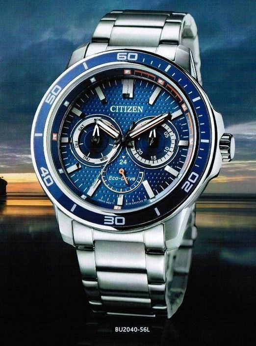 Montre Citizen Eco-Drive BU2040-56L, boîtier et bracelet en acier, cadran bleu.