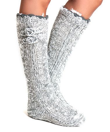 Look at this #zulilyfind! Flannel Angora-Blend Faux Fur Slipper Socks by Lemon Legwear #zulilyfinds