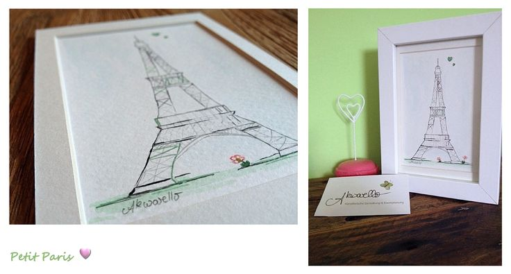 Von Herzen geschenkt by Akwarello #Aquarell #watercolor #Geschenk #present #gift #Paris #Herz #heart #birthday #Geburtstag #EiffelTower #Eiffelturm