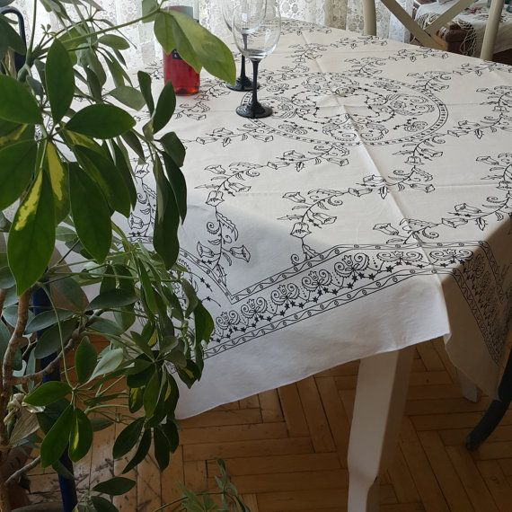 Check out this item in my Etsy shop https://www.etsy.com/listing/469759941/tablecloth-white-anatolia-flowers-motifs