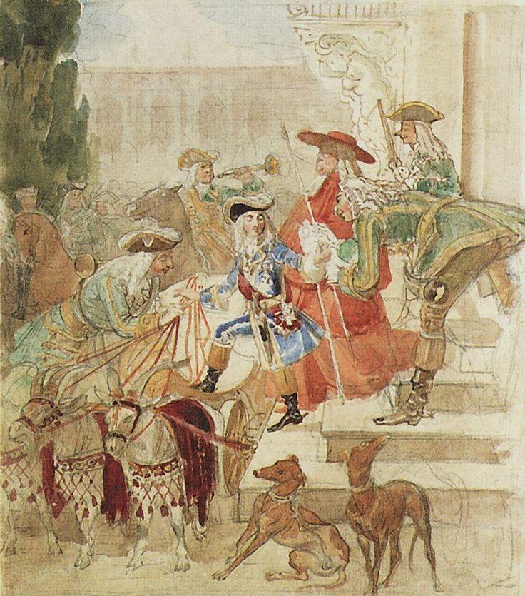 Прогулка Людовика XV в детстве. 1850. Бумага, акварель, граф. карандаш. 33,4 х 26,5. ГТГ.