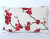 Decorative Pillow with Embroidered Red and Pink Cherry Blossoms