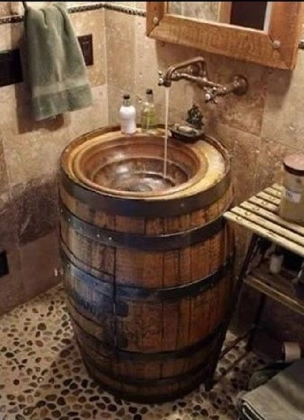 Fantastic idea for a rustic barrel sink from Phil Harris of NSW Australia. | WoodworkerZ.com