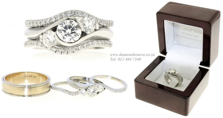 """- I DO -  This is another one of our most recent commissions featuring a """"his and hers"""" wedding set.  Her engagement ring is a Nichola design crafted from Platinum and set with a 0.50ct. Round Brilliant-cut diamond in the centre. The two diamond wedding bands are also crafted from Platinum. His wedding band is a combination of Platinum and yellow gold.   Please email or call us with any queries. E: info@diamondsource.co.za W: www.diamondsource.co.za T: 011 484 7349"""