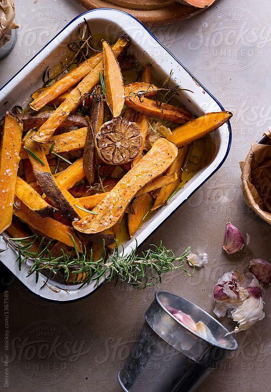 Homemade oven baked sweet potato wedges.