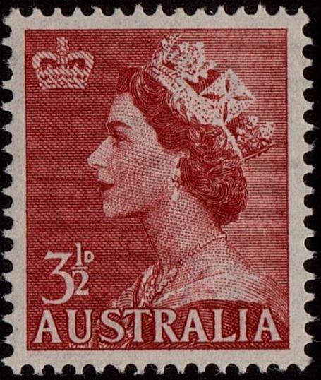 ACSC 296B) 1953. Queen Elizabeth II. 3½d. Perforation 15 x 14. Sideways C of A. Bright Carmine-Red