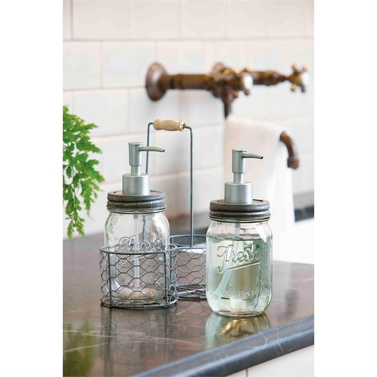 3 Piece Set Glass Preserve Jar Soap And Lotion Dispensers