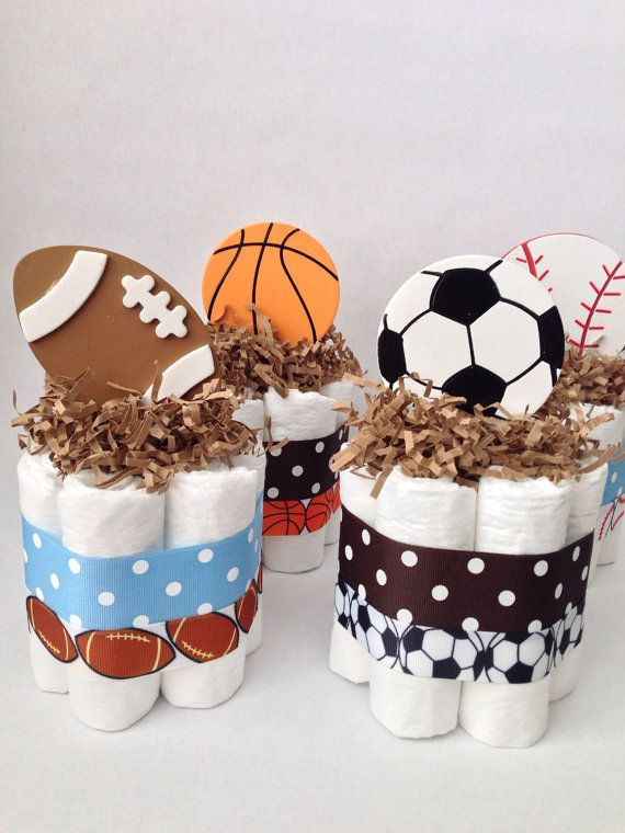 FOUR Sports Diaper Cakes, Baby Shower Decoration, Centerpiece, New Baby Gift, All Star Diaper Cake, All Star Baby Shower, Mini Diaper Cakes