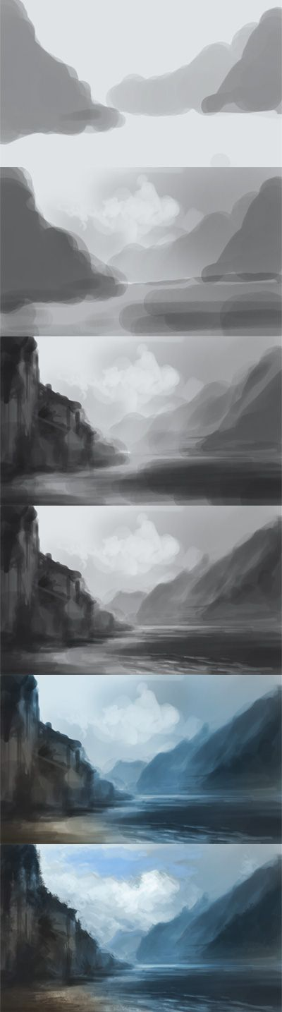 digital painting tutorial mountains water landscape environmental