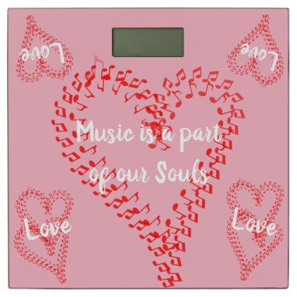 Red Hearts Musical Notes Pink Bathroom Scale - valentines day ...