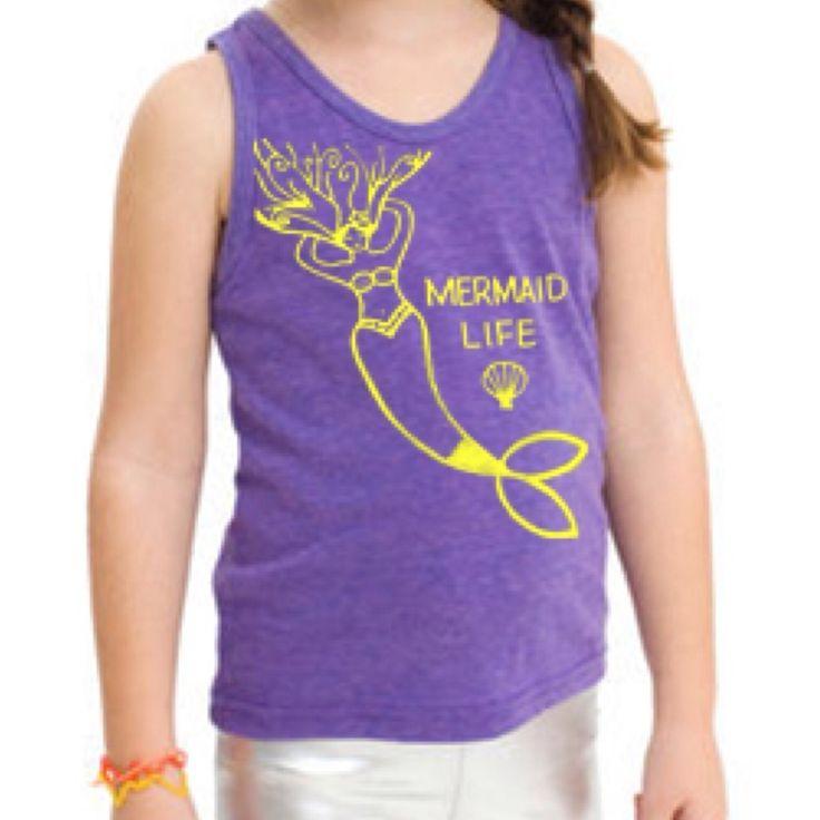 """Mermaid Life"" American Apparel Triblend Tank in Orchid. Custom artwork by Selena Gonzalez"
