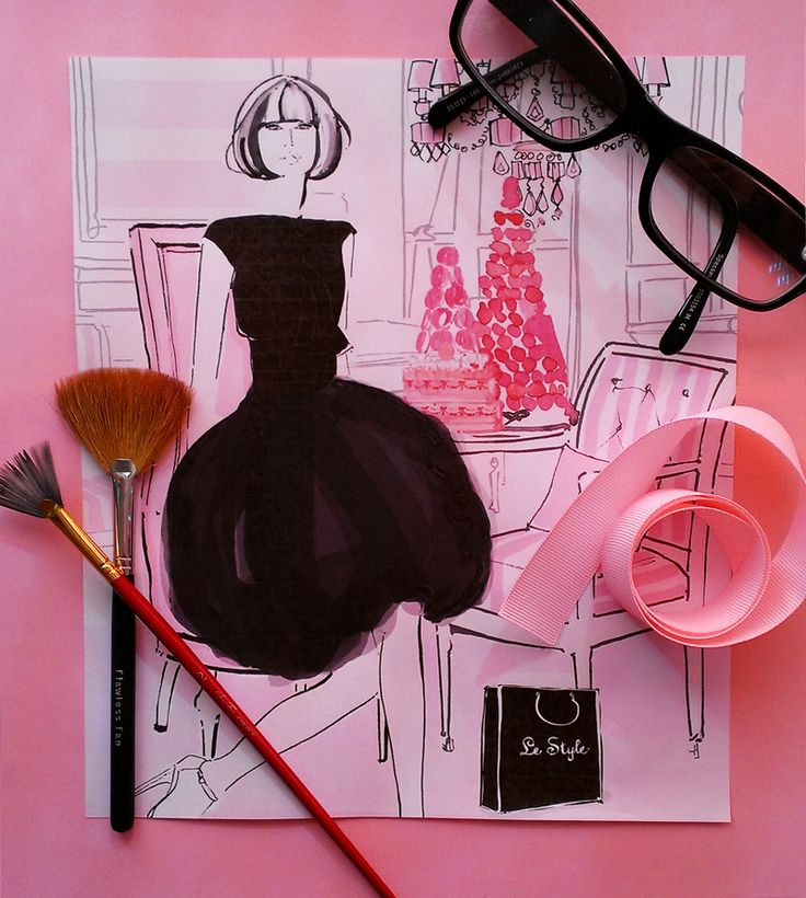 A gorgeous art work by renown fashion illustrator, Kerrie Hess for Le Style magazine's event, L'heure du The fundraiser in 2013 and 2014. Attend the black tie French high tea event in 2014 by clicking on http://lestyle.org/pages/Events.htm.
