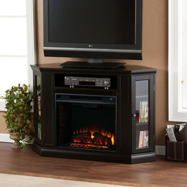 Convertible Media Electric Fireplace In Black