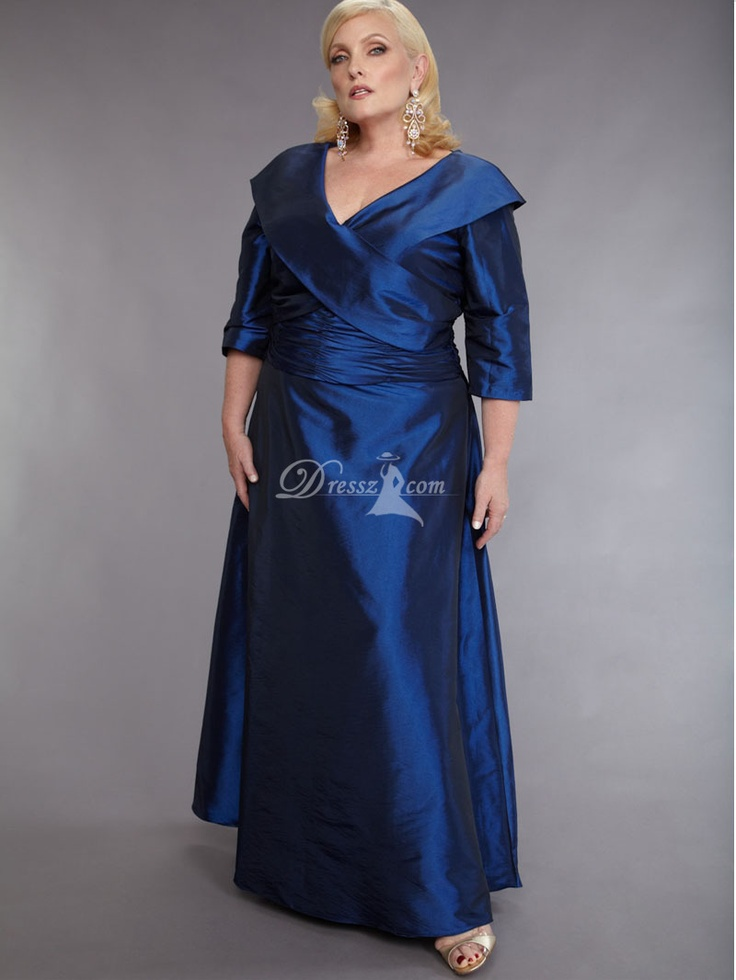 Formal A Line Plus Size Mother Of The Bride Dress With Loose Sleeves 350B8DZ
