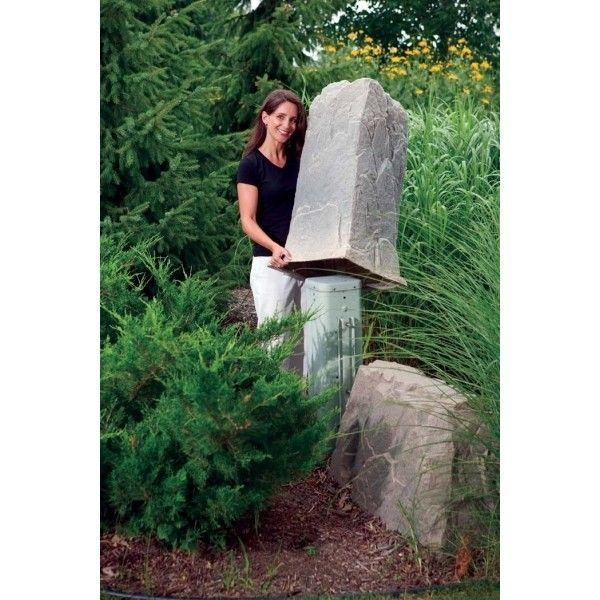 The Dekorra Model 113 Fake Rock Cover preys on telephone pedestals and other tall and skinny utilities.  The 113 is another great choice as a monumental house address rock.