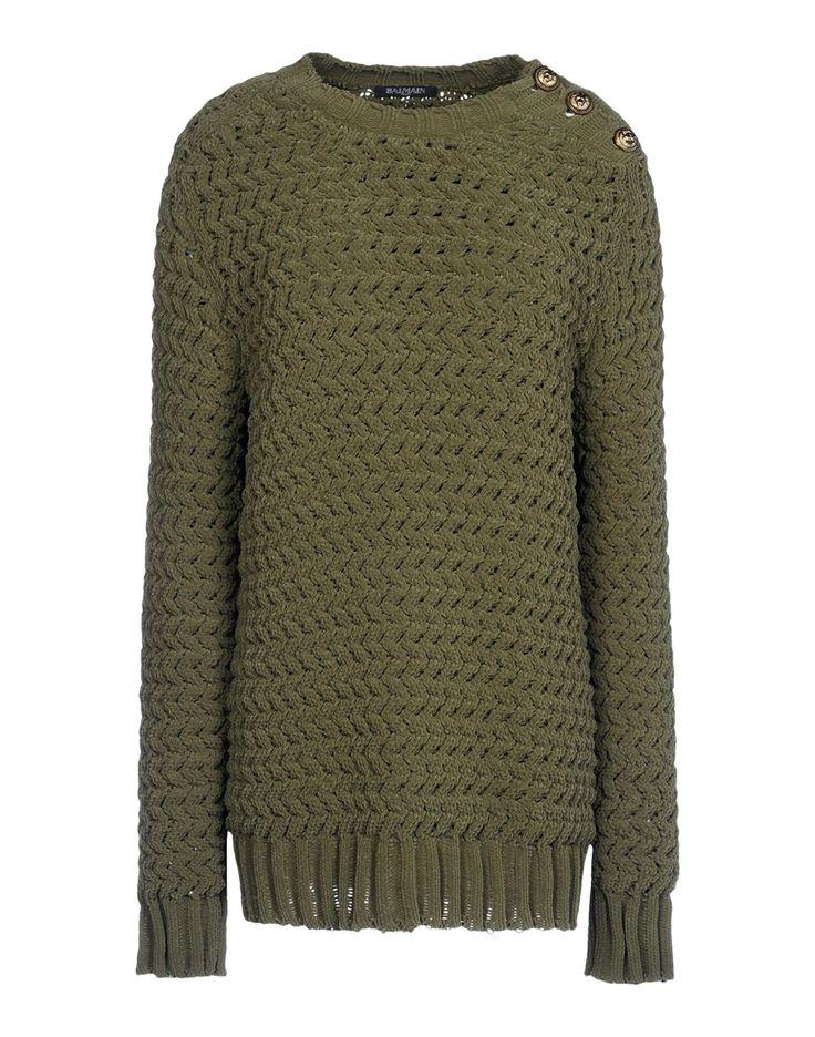 Balmain: Military Green Textured Knit Sweater