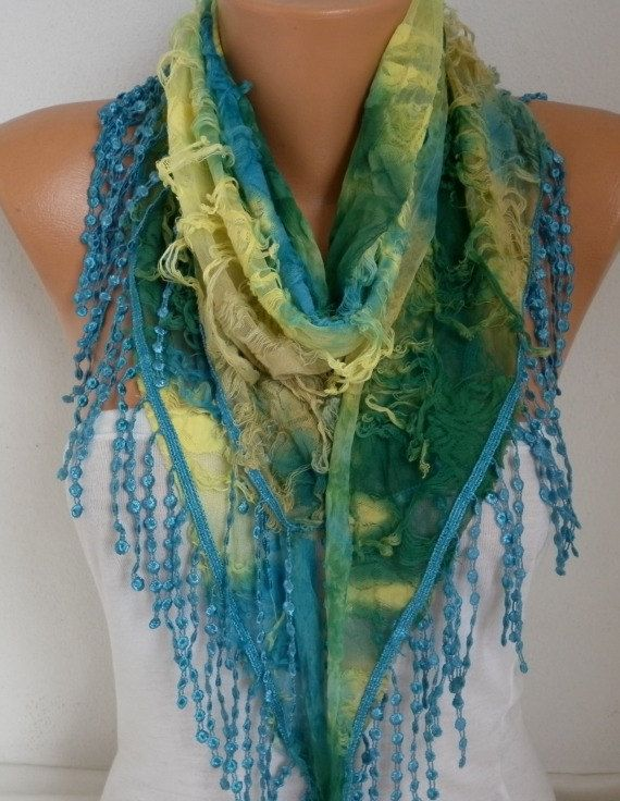 Ombre  Butterfly Scarf Fall Scarf Fringe Scarf Cowl by fatwoman
