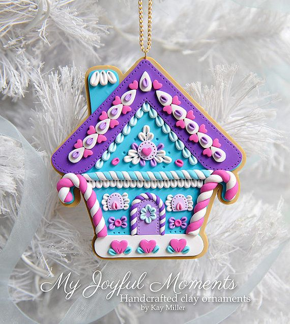 Handcrafted Polymer Clay Gingerbread House Ornament