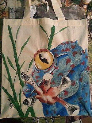 Handpainted Canvas bags - Tokee gecko