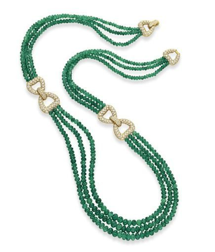 An Emerald Bead and Diamond Necklace