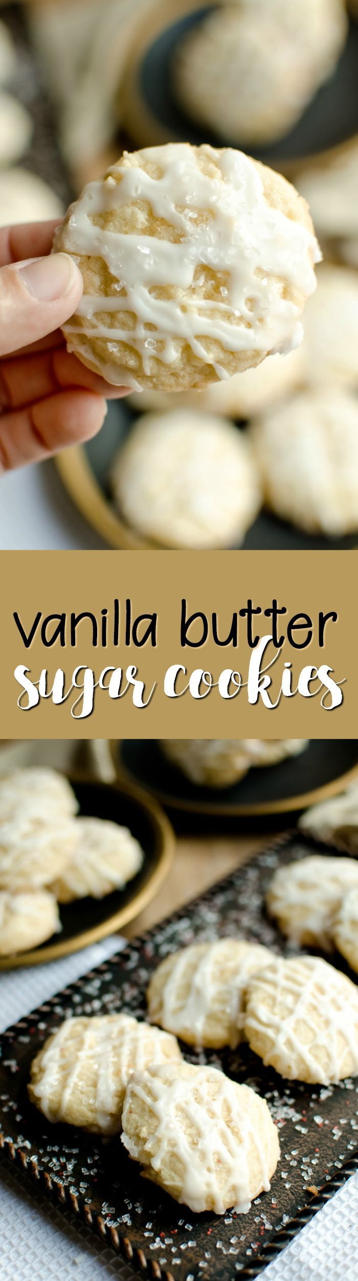 These soft and chewy Vanilla Butter Sugar Cookies are perfect for the holidays!