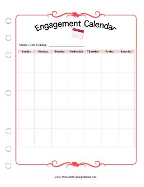 Keep your engagement deadlines and budgets organized by using this blank, monthl…
