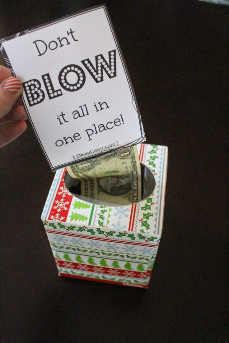 Last Minute Gift: Don't BLOW it all in one place. Creative way to give money!