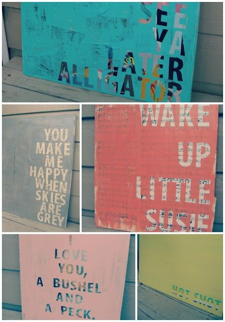 Inexpensive DIY wall art:  Thrift store art + vinyl letters + coat of paint, then remove vinyl letters.  Cool idea.  (linked)
