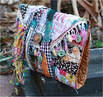 #felt #fibers #purse  Remains of the Day Journal - Love the fringe with the buttons!  THIS BLOG offers free how to videos AND online classes for other art forms too