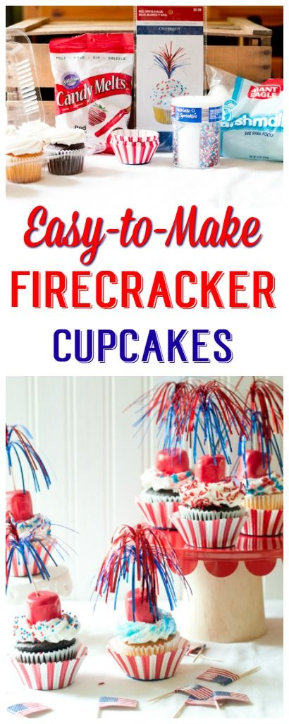 Easy to make Firecracker Cupcakes. Start with ready-made cupcakes, add some sprinkles, red chocolate dipped marshmallows and fireworks and you're done!