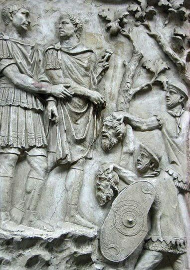 From Trajan's column - the severed heads of Dacians presented to Trajan himself.  it seems the presentation of decapitated heads to the emperor himself was standard protocol. There are echoes of Pompey's head being presented to Caesar and Cicero's head to Antony.