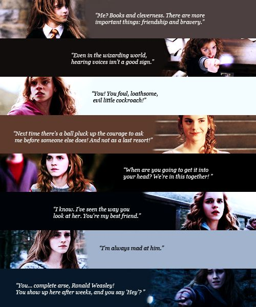 Hermione's favorite movie quotes  -now, i thought it was one per movie...but the last two were both from the 7th movie :3 just saying.