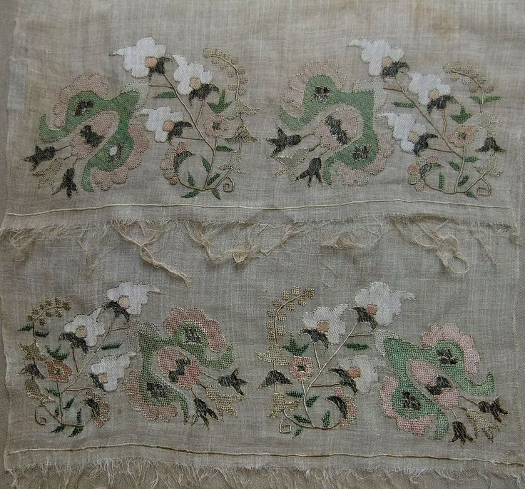 silk and metal thread on linen, Turkey, 19th century