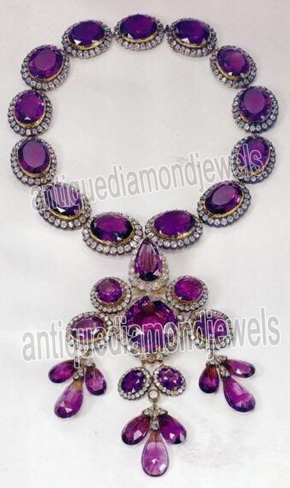 16.20ct ROSE CUT DIAMOND AMETHYST .925 SILVER /  NECKLACE #BridalAntiqueJewels