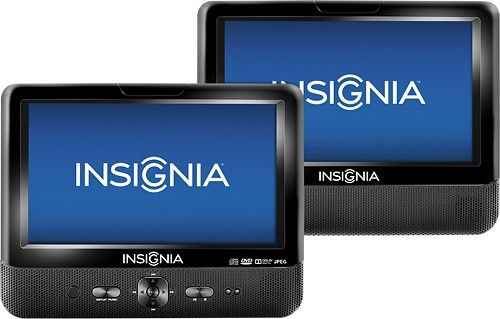 """Insignia™ - 9"""" Dual TFT-LCD Portable DVD Player - Black - Larger Front"""