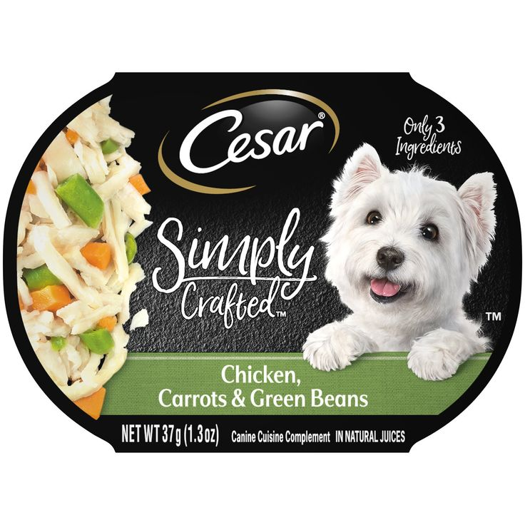 Cesar Simply Crafted Canine Cuisine Complement Chicken Carrots Green Beans Adult Wet Dog Food 1 3 Oz Case Of 10 Wet Dog Food Carrots Green Beans Dog Food Recipes