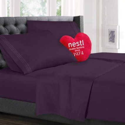 Split King Size Bed Sheets Set, Purple Dark Eggplant, Best Quality Bedding Sheet Set, 5-Piece Bed Set, Extra Deep Pockets Fitted Sheets, 100% Luxury Soft Microfiber, Hypoallergenic, Cool & Breathable