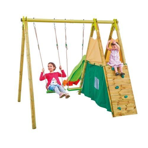 Portique toboggan + cabane + mur d'escalade + 2 agrès pour enfant dès 5 ans - Oxybul éveil et jeux