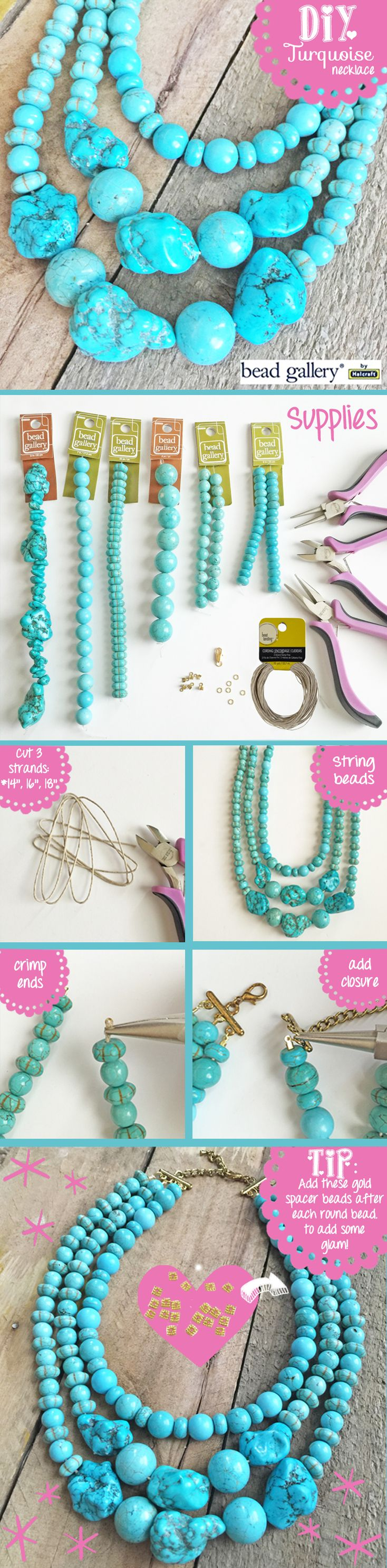 #DIY #Turquoise Necklace made with #BeadGallery beads available at @Michaels