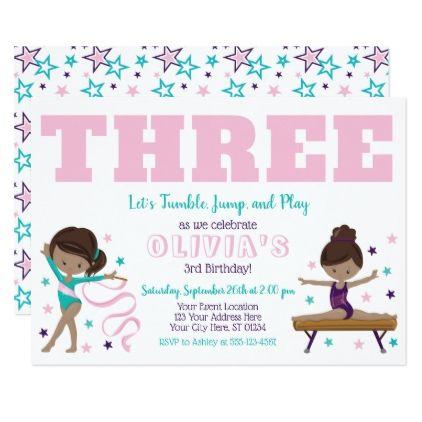 Gymnastics Birthday Invitation with Envelopes - birthday gifts party celebration custom gift ideas diy