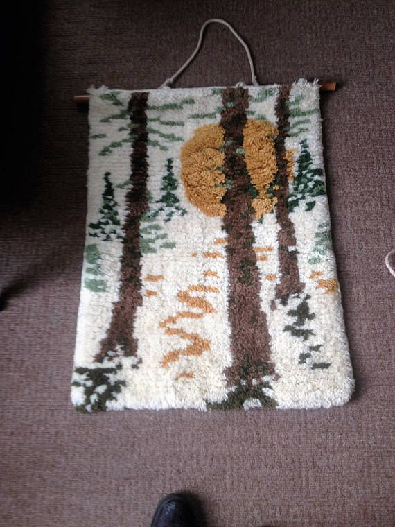 woven wall hanging Vintage wall hanging Hand knotted carpet