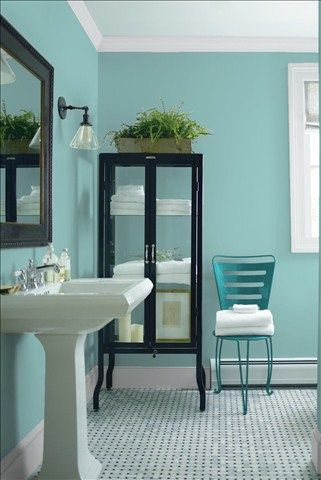 Look at the paint color combination I created with Benjamin Moore. Via @benjamin_moore. Wall: Spirit in the Sky 676; Trim: Marilyn's Dress 2125-60; Chair: Teal Ocean 2049-30.