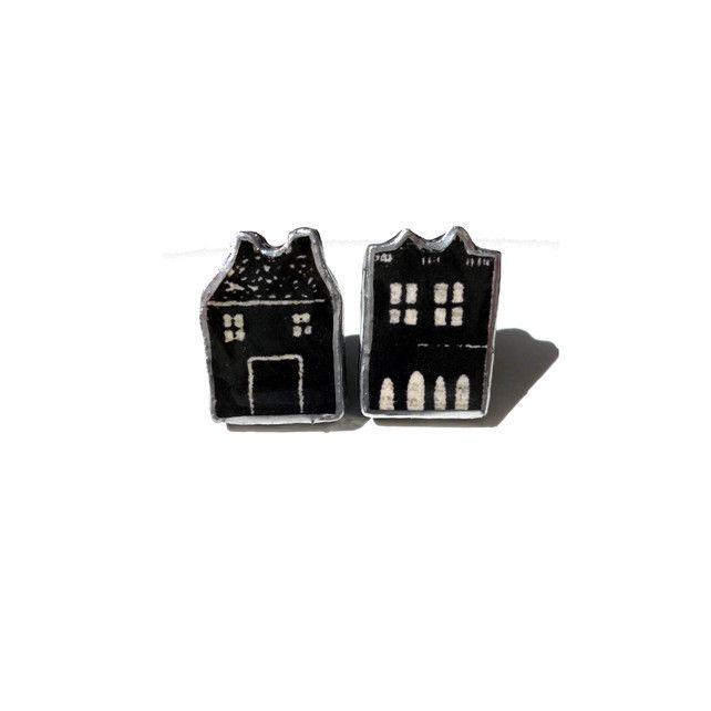 Kitsch Little House resin Earring Studs by EllyMental £12.25