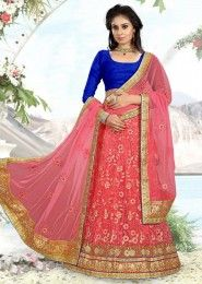 Bridal Wear Gajri Net Heavy Embroidery Work Lehenga Choli