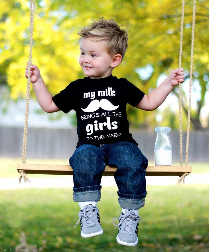Milk Mustache Tee Cute Boys Autumn Style Kids Fashion