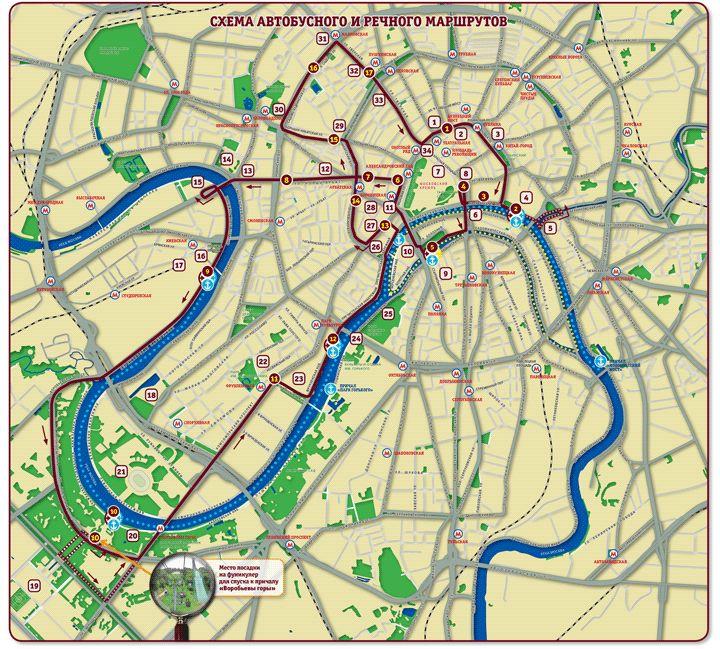 Экскурсии по Москве на двухэтажном автобусе - карта маршрута