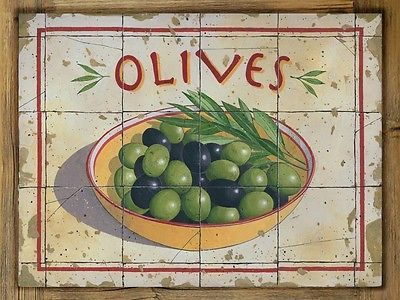 Olives-Metal-Sign-on-Rustic-Barn-Wood-Frame-Tuscan-art-kitchen-and-home-decor